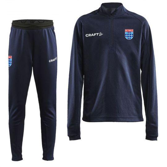 PEC Zwolle Trainingspak 1/4Zip Slim-Fit 2021-2022 Kids Wit