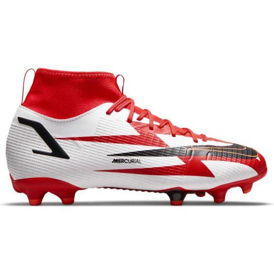 Nike Mercurial Superfly 8 Academy CR7 Gras / Kunstgras Voetbalschoenen (MG) Kids Rood Zwart Wit Oranje