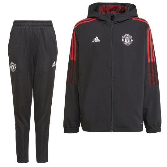 adidas Manchester United Presentatie Trainingspak 2021-2022 Kids Zwart Rood