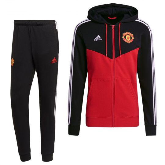 adidas Manchester United 3S Full-Zip Trainingspak 2021-2022 Zwart Rood
