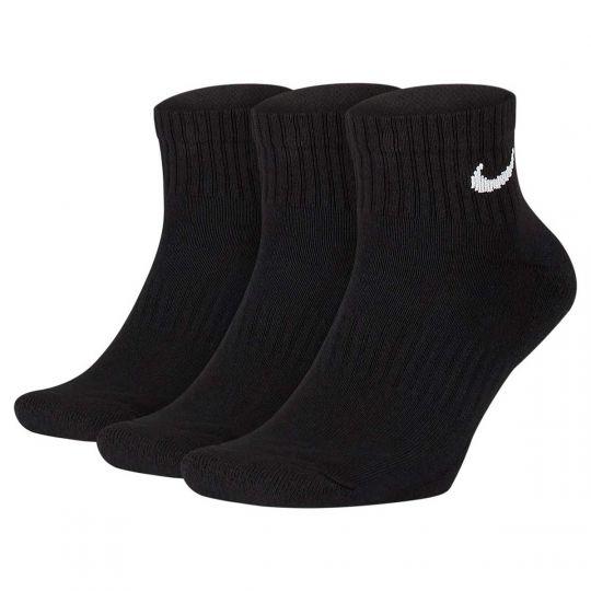 Nike Everyday Cushioned Sportsokken Halfhoog 3 Pack Zwart