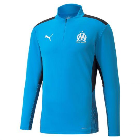 PUMA Olympique Marseille 1/4 Zip Trainingstrui 2021-2022 Blauw Zwart