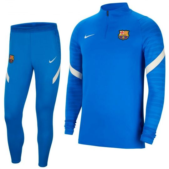 Nike FC Barcelona Strike Drill Trainingspak 2021-2022 Kids Blauw Lichtgrijs