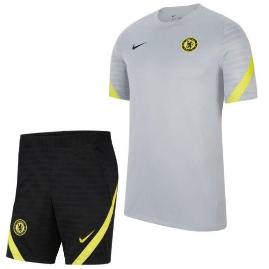 Nike Chelsea Strike Trainingsset 2021-2022 Grijs Zwart Geel