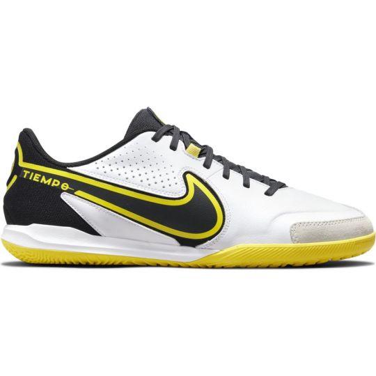 Nike Tiempo Legend 9 Academy Zaalvoetbalschoenen (IC) Wit Donkergrijs Zwart Geel