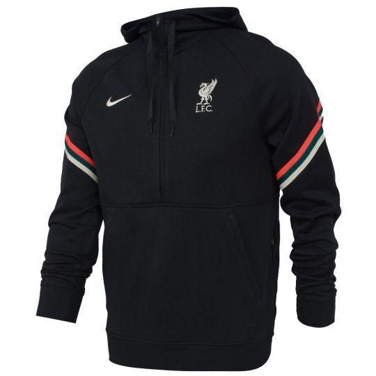 Nike Liverpool Fleece Hoodie Half-Zip 2021-2022 Zwart Rood