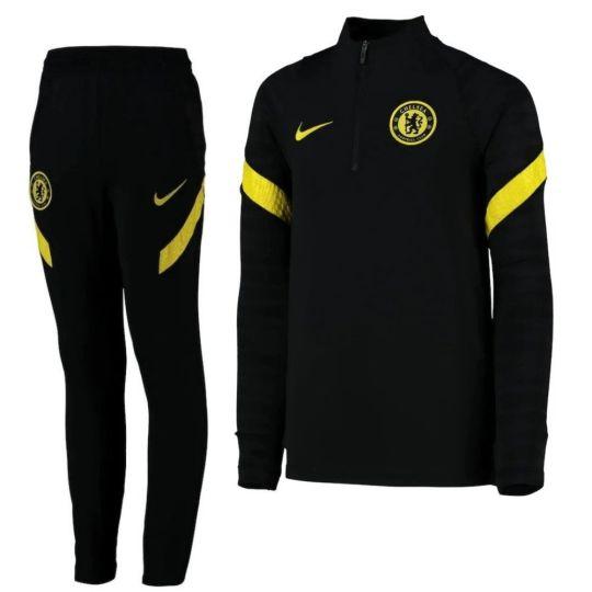 Nike Chelsea Strike Drill Trainingspak 2021-2022 Kids Zwart Geel