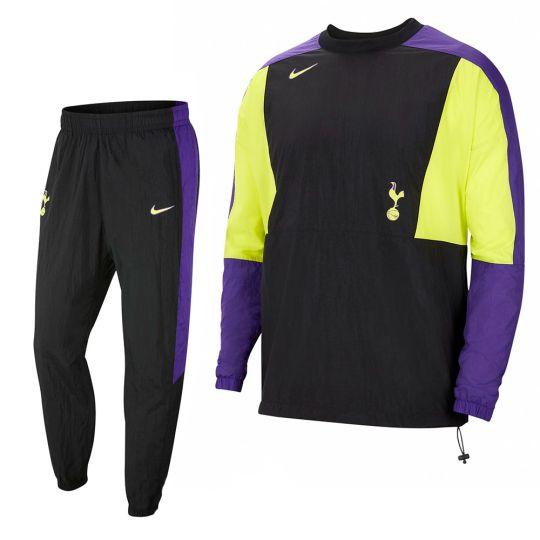 Nike Tottenham Hotspur Crew Trainingspak Woven 2021-2022 Zwart Paars Felgroen