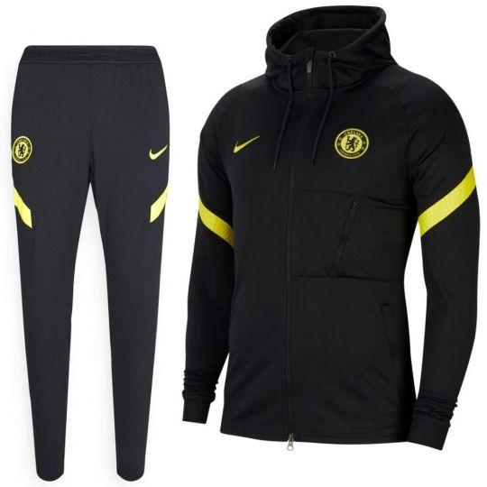 Nike Chelsea Strike Hooded Trainingspak 2021-2022 Zwart Geel