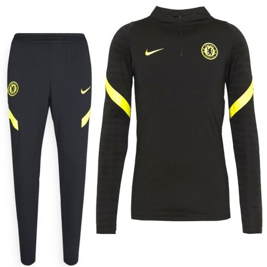 Nike Chelsea Strike Drill Trainingspak 2021-2022 Zwart Geel