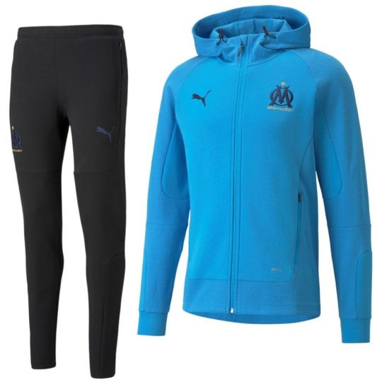 PUMA Olympique Marseille Casuals Sweat Trainingspak 2021-2022 Zwart Blauw