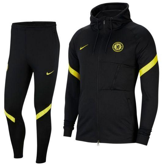 Nike Chelsea Strike Hoodie Trainingspak 2021-2022 Zwart Geel