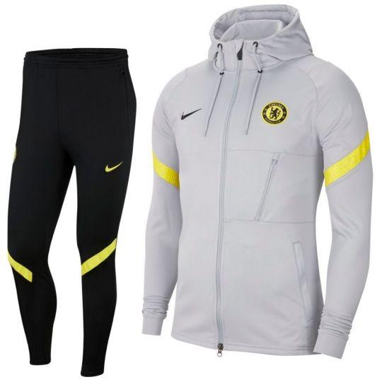 Nike Chelsea Strike Hoodie Trainingspak 2021-2022 Grijs Zwart Geel