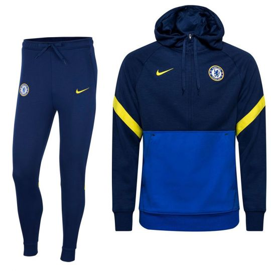 Nike Chelsea Travel Fleece Trainingspak 2021-2022 Blauw Geel