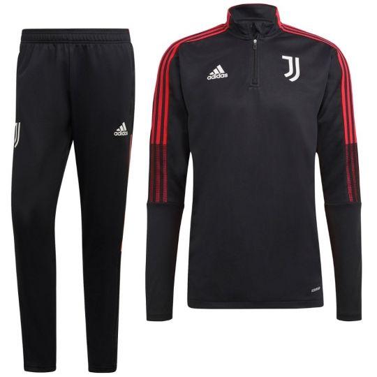 adidas Juventus 1/4 Trainingspak 2021-2022 Zwart Rood