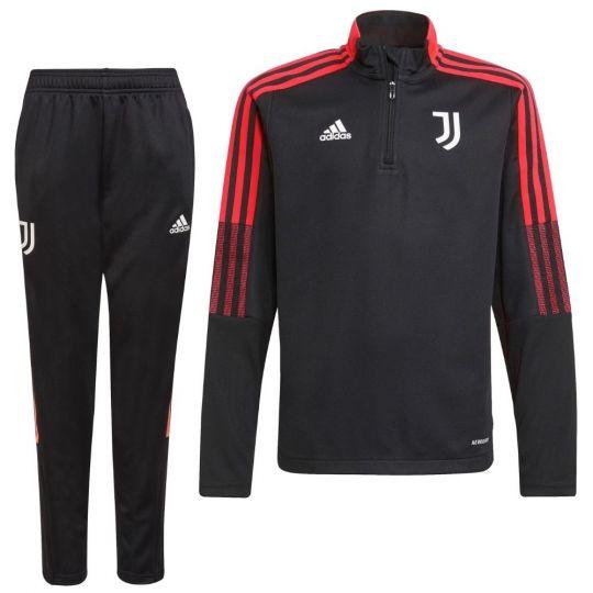 adidas Juventus 1/4 Trainingspak 2021-2022 Kids Zwart Rood