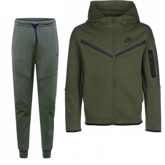 Nike Tech Fleece Trainingspak Full-Zip Kids Donkergroen