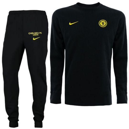Nike Chelsea GFA Crew Trainingspak 2021-2022 Zwart Geel