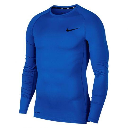 Nike Pro Compressieshirt Lange Mouwen Donkerblauw Zwart