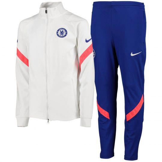 Nike Chelsea Dry Strike Trainingspak CL 2020-2021 Kids Wit