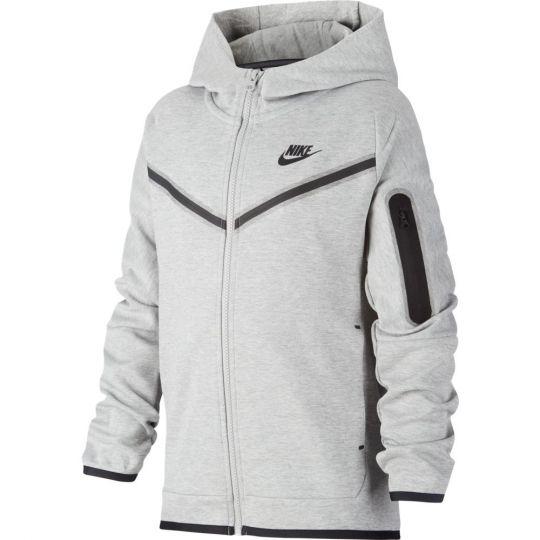 Nike NSW Tech Fleece Full Zip Hoodie Kids Grijs Zwart