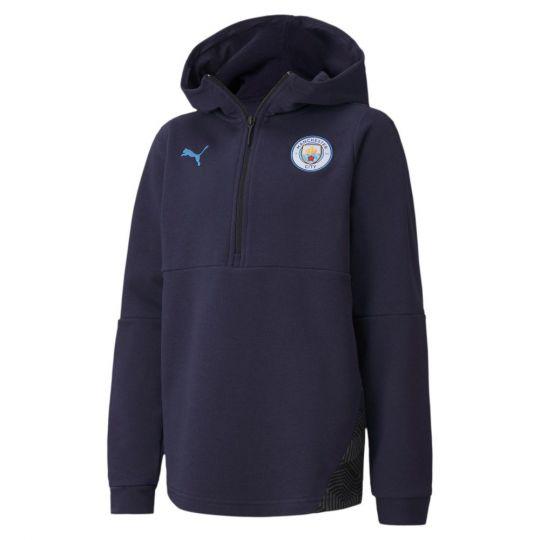 PUMA Manchester City Casual Hoodie 2020-2021 Kids Donkerblauw Lichtblauw
