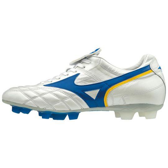 Mizuno WAVE CUP LEGEND Voetbalschoenen Wit Blauw Geel