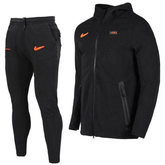 Nike AS Roma Tech Fleece Pack Trainingspak CL 2020-2021 Zwart Oranje