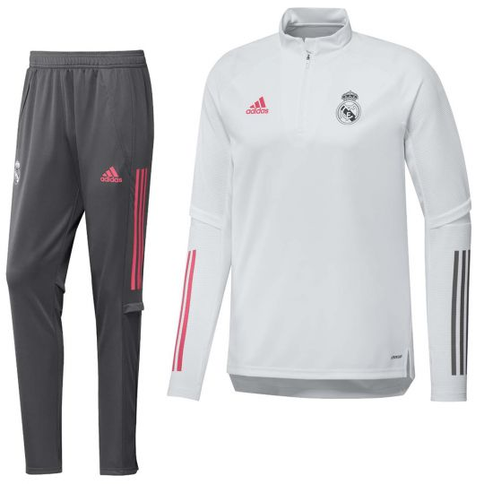 adidas Real Madrid Top Trainingspak 2020-2021 Wit Grijs