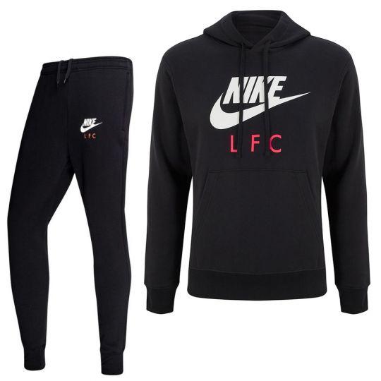 Nike Liverpool GFA Fleece CL Trainingspak 2020-2021 Zwart Wit