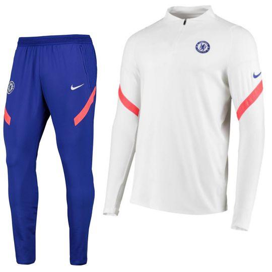Nike Chelsea Strike Drill Trainingspak 2020-2021 Wit Blauw