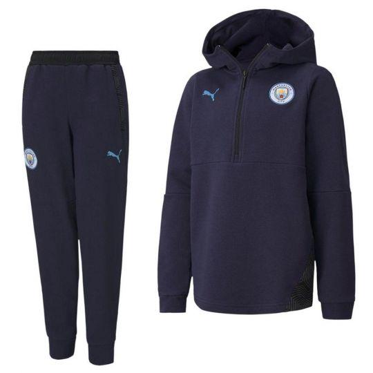 PUMA Manchester City Casual Trainingspak 2020-2021 Kids Donkerblauw Lichtblauw