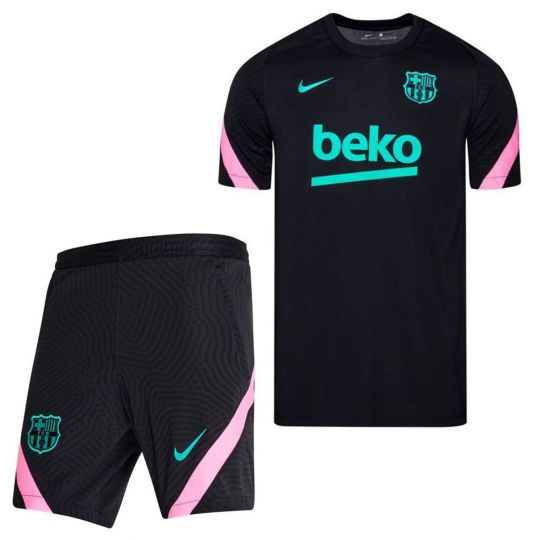Nike FC Barcelona Dry Strike Trainingsset 2020-2021 Kids Zwart Roze