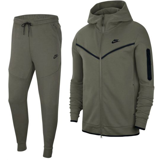 Nike Tech Fleece Full-Zip Hoodie Trainingspak Donkergroen Zwart