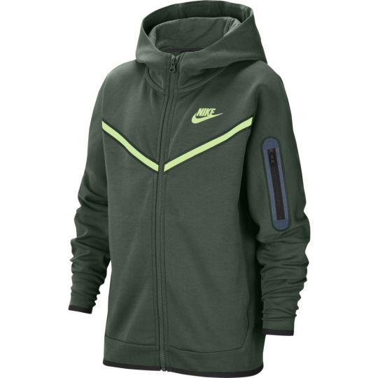 Nike Tech Fleece Hoodie Windrunner Full Zip Kids Donkergroen Lime