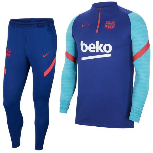 Nike FC Barcelona Strike Drill Trainingspak 2021 Kids Blauw Rood