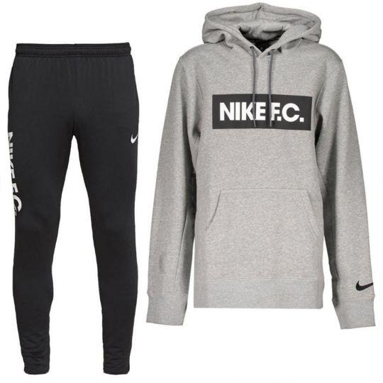 Nike F.C. Essential Hoodie Trainingspak Fleece Donkergrijs Zwart