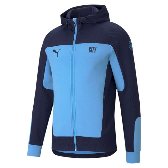 PUMA Manchester City Evostripe Full Zip Hoodie 2021 Lichtblauw Donkerblauw