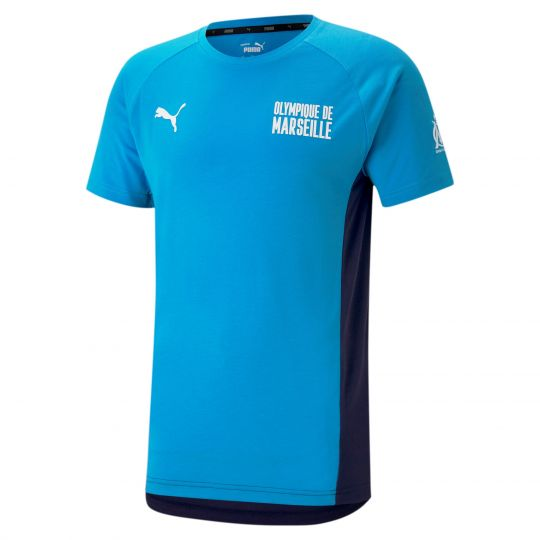 PUMA Olympique Marseille Evostripe T-Shirt Donkerblauw Azuurblauw