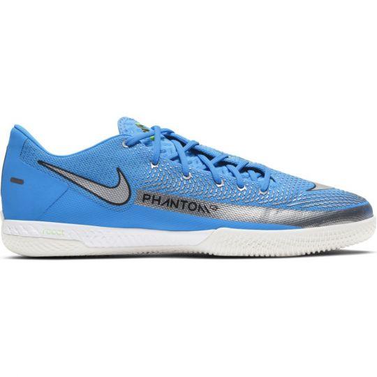 Nike Phantom GT React Pro Zaalvoetbalschoenen (IC) Blauw Zilver Groen