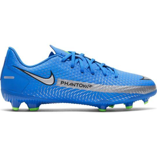 Nike Phantom GT Academy Gras / Kunstgras Voetbalschoenen (MG) Kids Blauw Zilver Groen