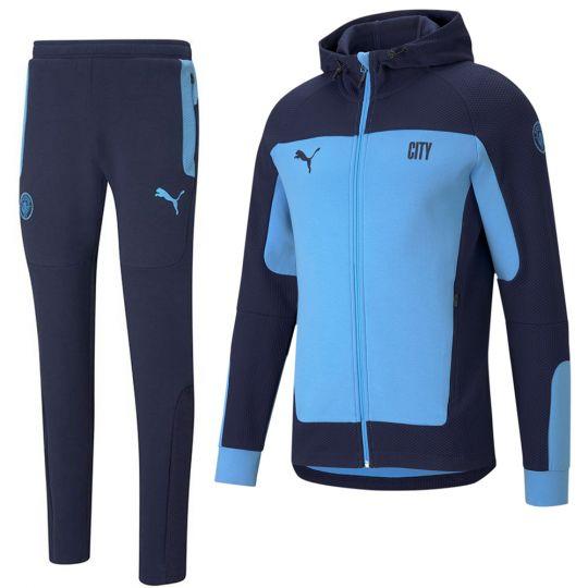 PUMA Manchester City evoSTRIPE Full Zip Hoodie Trainingspak 2021 Lichtblauw Donkerblauw