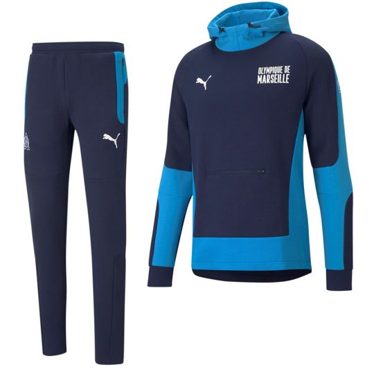 PUMA Olympique Marseille evoSTRIPE Hoodie Trainingspak 2021 Donkerblauw Azuurblauw