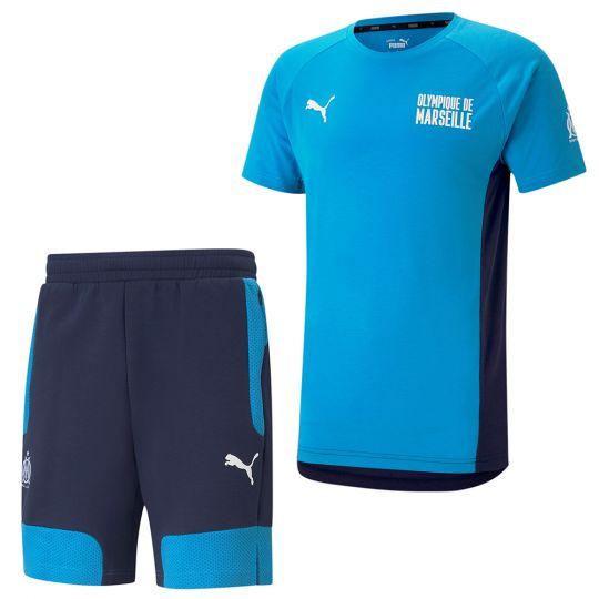 PUMA Olympique Marseille Evostripe Trainingsset 2021 Azuurblauw Donkerblauw