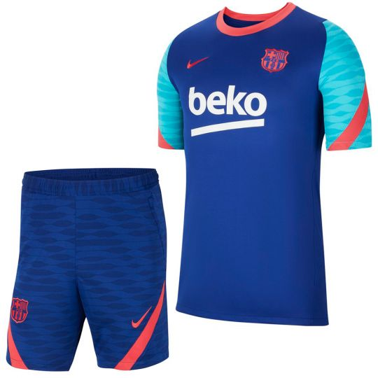 Nike FC Barcelona Strike Trainingsset 2021 Blauw Rood