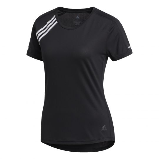 adidas 3-Stripes Run T-shirt Dames Zwart Wit