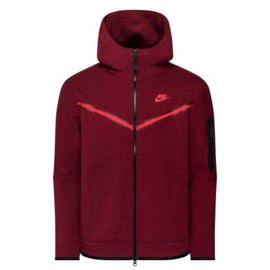 Nike Tech Fleece Hoodie Windrunner Full Zip Donkerrood Felrood