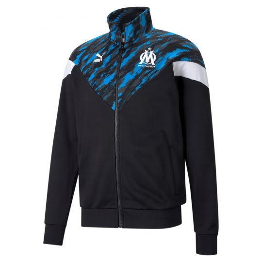 PUMA Olympique Marseille Iconic MCS Graphic Trainingsjack 2021 Zwart Wit