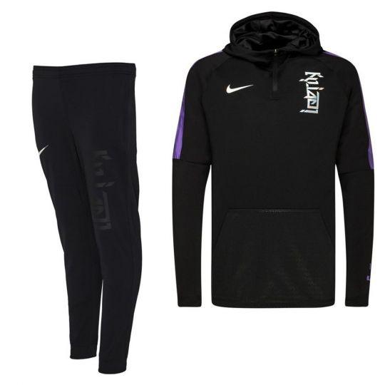 Nike KM Dri-Fit Trainingspak Kids Zwart Donkergrijs Paars