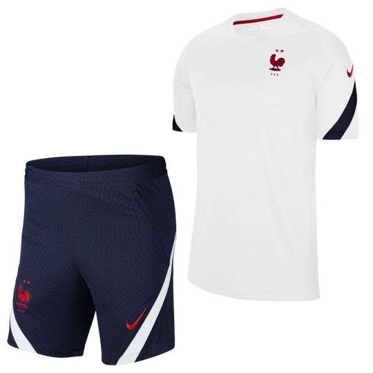 Nike Frankrijk Strike Trainingsset 2020-2022 Wit Donkerblauw